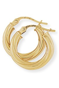 9ct Gold Twisted Hoop Earrings E681