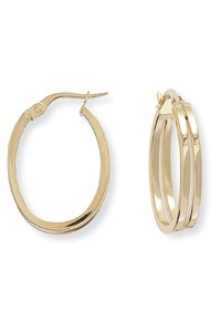 9ct Gold Double Tube Hoop Earrings ER592