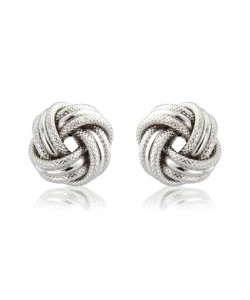 9ct White Gold Knot Earrings ER775