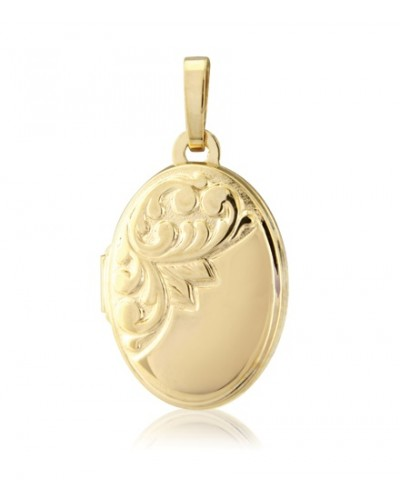 9ct Gold 10x15mm Oval Embossed Locket LK206