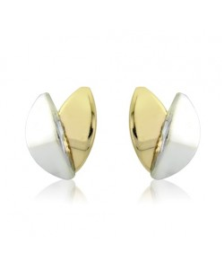 9ct Gold 2 Colour Leaf Studs SE465