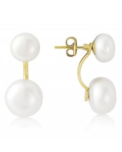 9ct Gold Freshwater Pearl Double Drop Earrings SE512
