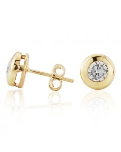 9ct Gold 7mm Rubover CZ Stud Earrings SE547