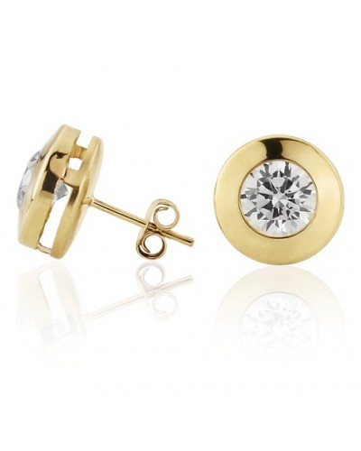 9ct Gold 11mm Rubover CZ Stud Earrings SE549