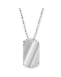 Sterling Silver Single Dog Tag Pendant G3023
