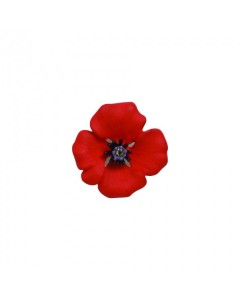 Rhodium Plated Passion Poppy Clutch Pin