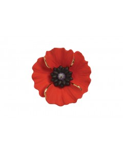 18ct Gold Plated Small Peace Poppy Brooch