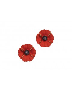 18ct Gold Plated Peace Poppy Clip-on Earrings
