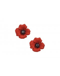 Rhodium Plated Passion Poppy Clip-on Earrings