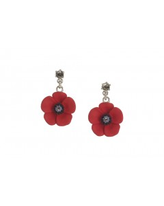 Rhodium Plated Poppy Crystal Drop Earrings E4809