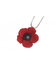 Rhodium Plated Large Poppy Pendant N1425