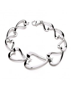 Purity 925 Sterling Silver Floating Hearts Bracelet PUR0110/2