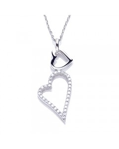 Purity 925 Sterling Silver Floating Hearts & CZ Pendant PUR1348N