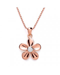 Purity 925 Rose Gold Plated Sterling Silver Flower & CZ Pendant PUR1433P/S