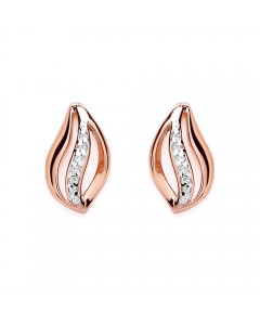 Purity 925 Rose Gold Plated Sterling Silver Open Flame & CZ Stud Earrings PUR1440ES