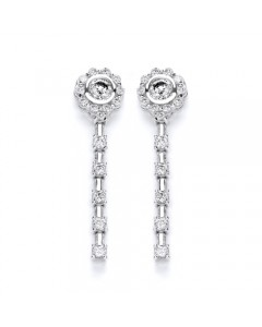 Purity 925 Sterling Silver Cubic Zirconia Dropper Earrings PUR1911ED