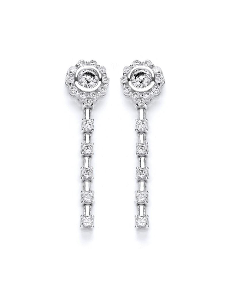 8ae02b633 Purity 925 Sterling Silver Cubic Zirconia Dropper Earrings PUR1911ED