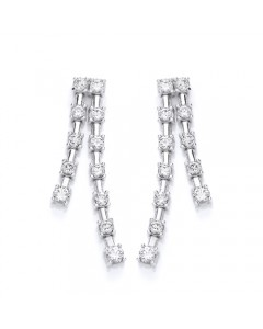 Purity 925 Sterling Silver CZ Tassle Dropper Earrings PUR1912ED