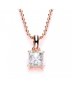 Purity 925 Rose Gold Plated Sterling Silver CZ Pendant PUR3580P/S