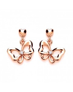 Purity 925 Rose Gold Plated Sterling Silver CZ Bow Earrings PUR3611ED