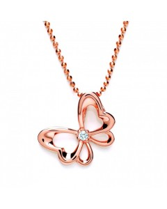 Purity 925 Rose Gold Plated Sterling Silver CZ Bow Pendant PUR3611P/S
