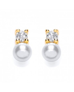 Purity 925 Gold Plated Sterling Silver Imitation Pearl & CZ Earrings PUR3717ES