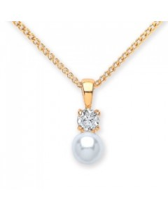 Purity 925 Gold Plated Sterling Silver Imitation Pearl & CZ Pendant PUR3717P/S