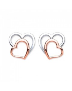 Purity 925 Rose Gold Plated Sterling Silver Double Heart Earrings PUR3745ES