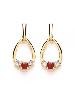 Purity 375 9ct Gold Ruby & CZ Drop Earrings P2587ED-2