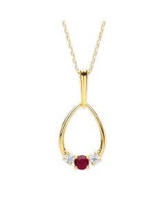 Purity 375 9ct Gold Ruby & CZ Pendant P2587P-2/S