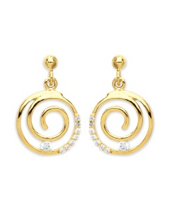 Purity 375 9ct Gold CZ Swirl Drop Earrings PUR2601ED