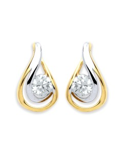 Purity 375 9ct Gold 2 Colour CZ Teardrop Earrings PUR2602ES