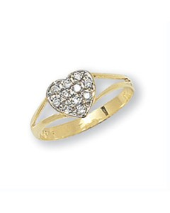 9ct Gold Children's CZ Heart Signet Ring RN733
