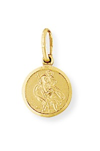 9ct Gold 10mm Plain Round St Christopher SC001