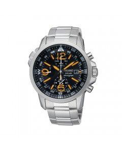 Seiko Gents Solar Alarm Chronograph Watch SSC077P1