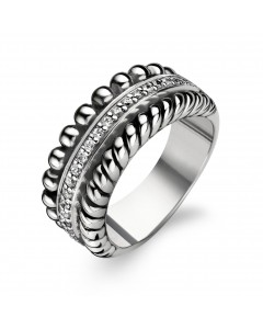 Ti Sento Sterling Silver 3 Row Twirl, CZ & Bobble Ring 1836ZI