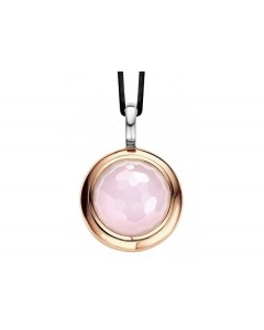 Ti Sento Sterling Silver & Rose Gold Plate Pink Facetted CZ Pendant 6701LP