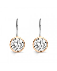 Ti Sento Rose Gold Plated Sterling Silver CZ Drop Earrings 7653ZR