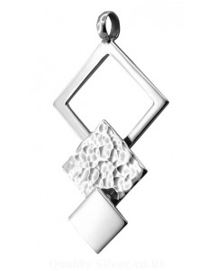 Tianguis Jackson Sterling Silver Hammered Squares Pendant CP0692