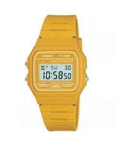 Casio LCD Yellow Alarm-Chronograph Watch F-91WC-9AEF