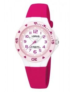 Lorus Children's Pink Resin Backlight Watch R2339DX9