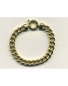 """9ct Gold Gents Rounded Hollow Curb 8"""" Bracelet HG035/8"""