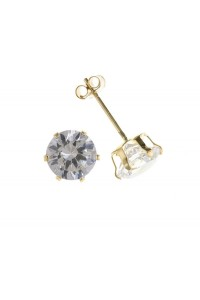 9ct Gold Claw Set CZ Stud Earrings CZ09