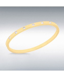 Sterling Silver Gold Plated CZ Bangle 8.37.2306