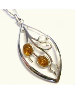 Sterling Silver Amber & Moonstone Pendant P594