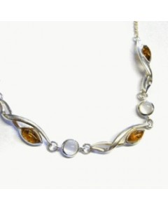 Sterling Silver Amber & Moonstone Necklet CL145MS