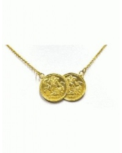 Gold Plated Sterling Silver Double Coin Necklet BT2004