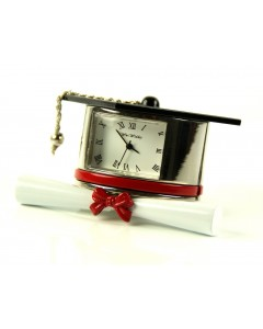 Miniature Mortarboard & Scroll Graduation Clock 9343