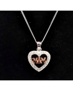 Sterling Silver & Rose Gold Plated 'Mam' Pendant PWS827 RG