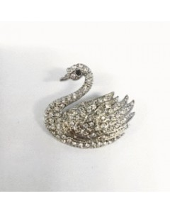 Rhodium Plated CZ Swan Brooch B6341